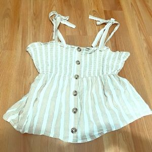 Primark - Beige/White Striped Rustic Top Size 6